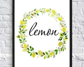 Lemon print, lemon kichen decor, lemon wall art print, typography print, nursery floral art print, floral print, floral wall decor print