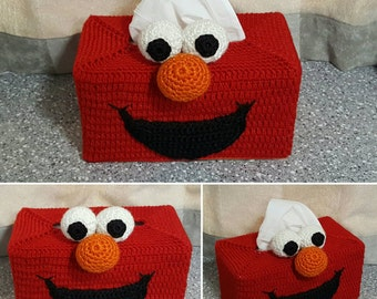 Handmade Elmo Crochet Tissue Box Cover.