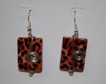 Wire Wrapped Cheetah Print Earrings