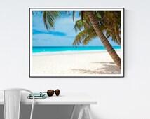 Beach Wall Art Print, Ocean, Palm Tree, Summer, Digital Printable Art, High Resolution Print, Mini to Poster-Sized