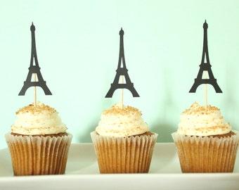Eiffel Tower Cupcake Toppers - Paris Cupcake Toppers - Paris Decor - Eiffel Tower Party Decor - Baby Shower Decor - Bridal Shower Decor