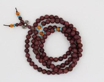 Necklace Bracelet handmade Buddhist Mala - 108 beads Bois de Rose
