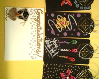 Graduation Card, Graduation Card and Bookmarks,Quilled Cards,Quilling,Color Paper.