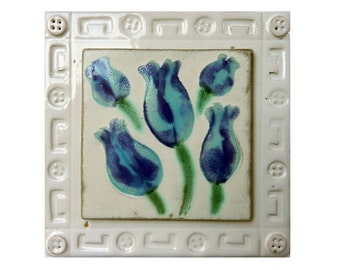 Ceramic Tile Wall Hanging of Blue Flowers