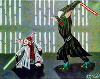 """Jedi Gizmo vs Sith Stripe 11"""" x 14"""" Acrylic Canvas Original Painting by Anthony Esquivel-MayTheGeekBeWithYou"""