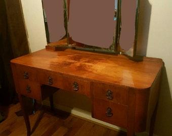 SOLD***Now Sold***Antique Edwardian Walnut Triple Tilting Mirror Dressing Table Night Stand Dresser Bedroom