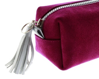 Cosmetic Pouch made from Fuchsia Leather Suede with Silver Leather handles and Silver Leather Tassel