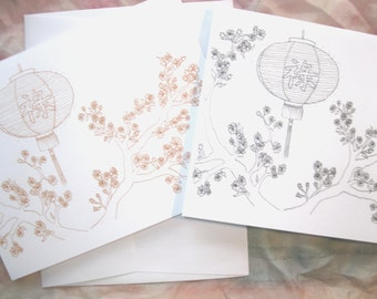 Prosperity, Chinese Lantern and Cherry Blossoms, Colourable, EmZ Cards