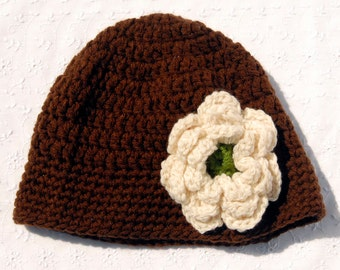 Crochet Brown Hat with Cream and Gold Flower, Cloche with Flower, Handmade Hat