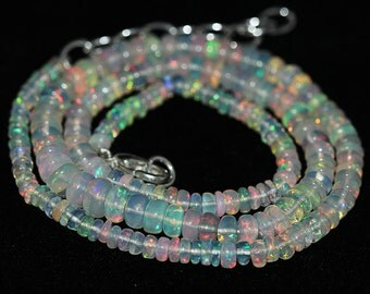 Welo Ethiopian Opal Smooth Rondelle Loose Beads Necklace - 18 inches - 3.5 MM - 6 MM - Jewelry Making