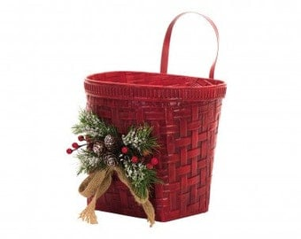 Christmas Iron Greenery Wall Bucket - Red