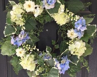 Hydrangea Wreath, Front Door Wreath, Summer Wreath, Spring Wreath, Seasonal Wreath
