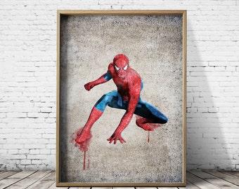 Spiderman Print Spiderman Poster Printable Watercolor Digital Download  Printable Art Digital Prints Watercolor Prints Nursery Prints