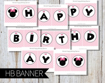 Minnie Mouse Birthday Party Printable 'Happy Birthday' Banner PINK- Instant Download