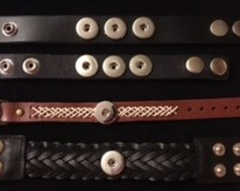 Genuine Leather Men's Interchangeable Snap Bracelets - Fits both Men and Youth - Various Lengths to Fit Everyone!