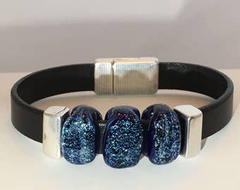 Blue Dichroic Black Leather Bracelet