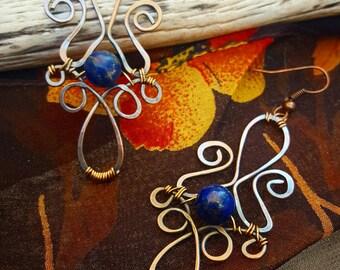 Bohemian Handmade Earrings, Gypsy Earrings, Lapis Lazuli, Deep Blue Earrings, Copper Wire, Exotic Earrings, gift for her