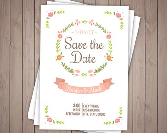 Personalised Printable, Save-the-Date-Printable Card - Simple Floral