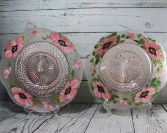 Early American Serving Bowl and Plate, by Duncan Glass,  Hand Painted, Scalloped Rim, Antique from 1893