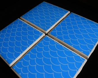 Tile Coasters - Blue Ceramic Coasters - Coaster Set - Handmade Coasters - Ceramic Coasters - Drink Coasters - Blue Tile Coasters