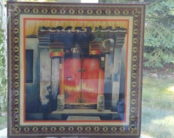 20% OFF PRICE with coupon code! Burmese Lacquered Sand Art Painting Temple Doors