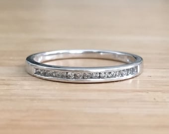 Art Deco Diamond and White Gold Wedding Band Eternity Ring