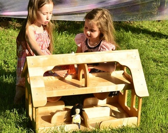 Double-sided Wooden DOLLHOUSE   Kids Toy Handcrafted- Waldorf - Montessori- Wooden Toys- Pretend Play
