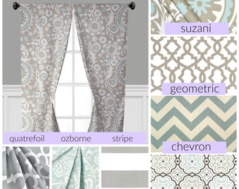 Powder Blue Gray Window Treatments Grey Curtain Panels Drapery Nursery Drapes Chevron Stripe Moroccan Curtains Window Topper Shade