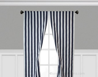 Navy Blue Curtain Panels Stripe Curtains Window Treatments Nautical Decor Custom Drapery Nursery Decor Drapes