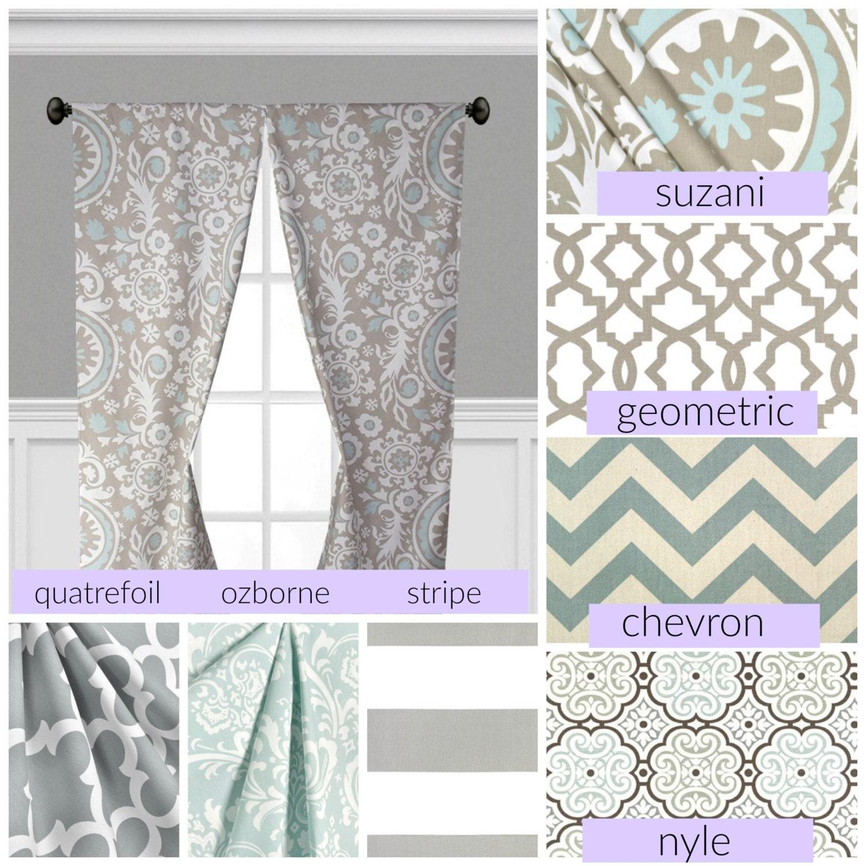 Blue moroccan curtains - Powder Blue Gray Window Treatments Grey Curtain Panels Drapery Nursery Drapes Chevron Stripe Moroccan Curtains Window