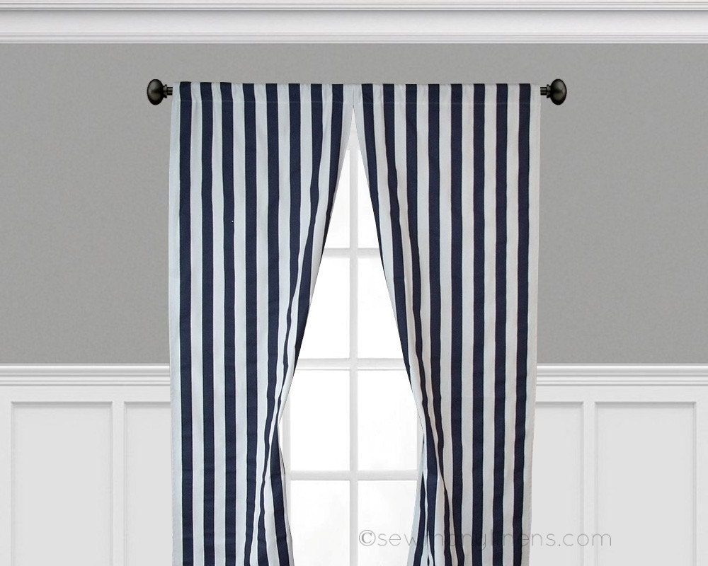navy blue curtain panels stripe curtains window treatments