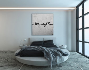 Extra Large Minimalist Art / Black and White Painting / Modern Art / Contemporary Art / Black and White Art / Large Painting