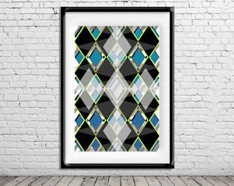 Geometric Art Poster Print Teal Black Neon Yellow Diamonds