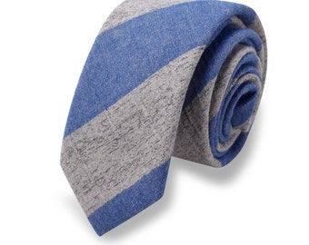 25% OFF TIE SALE! Blue and Grey Linen Necktie, Skinny Tie, Men's Skinny Tie
