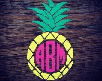 Pineapple Monogram Vinyl Sticker Decal.  Your initials, your colors!