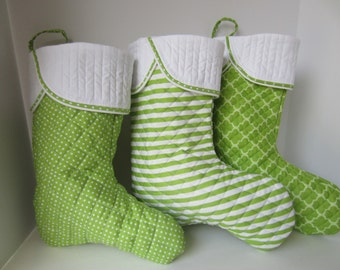 Quilted Christmas Stocking, Christmas Stockings, Green Quilted Stockings, Quilted Stocking, Family Stocking, Xmas Stocking, Stocking Set