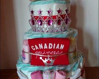 Baby girl Canadian princess diaper cake