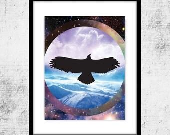 Mystic Raven Art, Ocean Landscape, Instant Printable Download, Mystical Print, Raven Digital Art, Galaxy Print