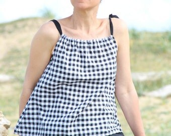 Top woman, top, top gingham, top black and white