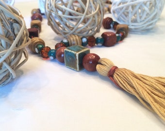 Boho Tassel Necklace/ Tan Tassel