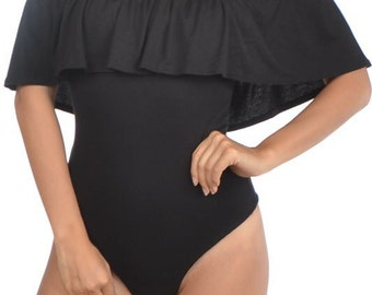Off Shoulder Flounce Bodysuit