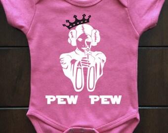 Princess Leia 'Pew Pew' Baby One Piece, Star Wars Bodysuit, Baby Clothing, Unique Gift, Star Wars, Bodysuit, SW Fans, Pew Pew, Girl Power