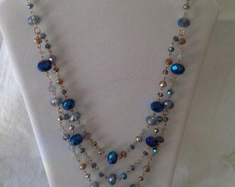 Blue Multi Strand Glass Bead Necklace