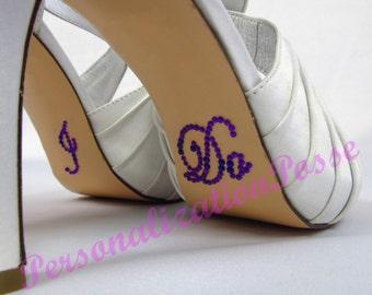 I Do Shoe Stickers - Purple Rhinestones
