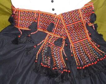 Sash in black silk & red/multicoloured cotton