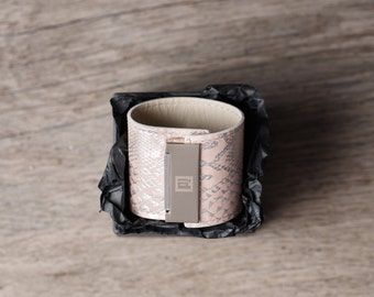 leather cuff bracelets, wide leather band bracelet,  white bracelet