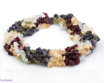 "MULTI-COLOR Gemstones Chip Beads, Amethyst, Citrine, Aquamarine, Peridot, 36"" Full Strand 4mm - 7mm Gemstone Beads, GS06MU"