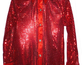 Children's Red sequin style shirt. Ideal for parties, fancy dress, stage, performance wear. Or just for fun.