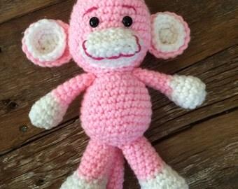 Pink or Blue Crochet Monkey