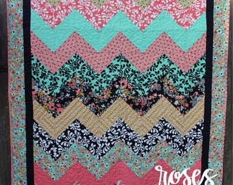 Chevron Teal and Pink Quilt